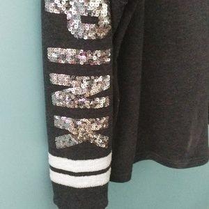 PINK Victoria's Secret Tops - VS PINK sequined quarter button sweatshirt size L